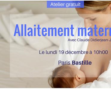 Participez à notre atelier gratuit sur l'allaitement