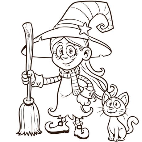 Coloriages Halloween (citrouille, sorcière, squelette, vampire…)